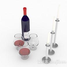 蓝色玻璃瓶包装红酒3d模型下载