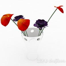 红紫双色花卉家居摆设品3d模型下载