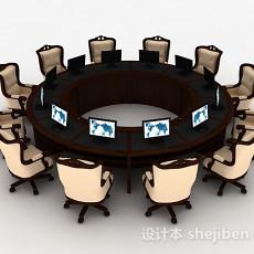简欧会议桌椅3d模型下载