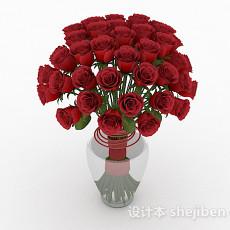 红玫瑰室内摆设花卉3d模型下载