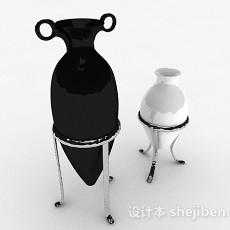 黑白色色尖底花瓶3d模型下载