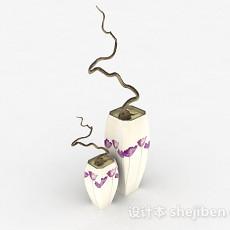 紫色花卉图案陶瓷花瓶3d模型下载