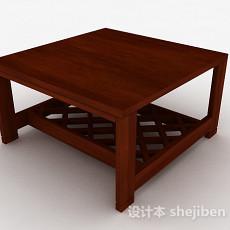 棕色木质方形茶几3d模型下载