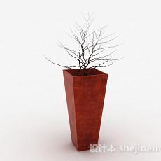 枣红色方形室内盆栽3d模型下载
