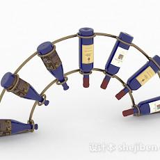 扇形金属酒架3d模型下载