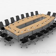 黄色会议桌椅3d模型下载