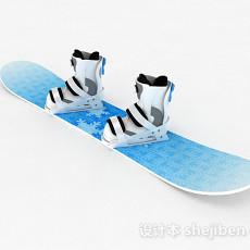 蓝色单板雪橇3d模型下载