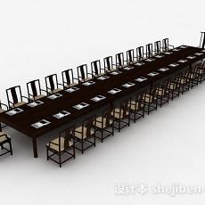 现代风格大型会议桌椅组合3d模型下载