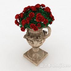 欧式浮雕大肚花瓶3d模型下载