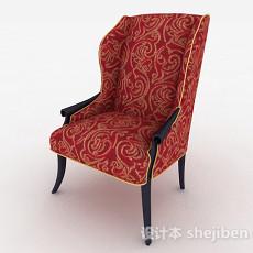 欧式红色花纹布艺单人椅3d模型下载