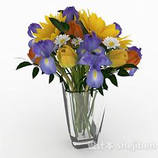 多色花卉植物室内插花摆设3d模型下载