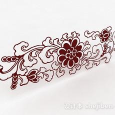 牡丹花卉图案墙纸3d模型下载