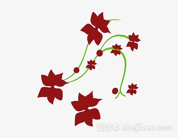 红色花卉图案墙纸