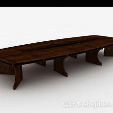 现代风格方形木质会议桌3d模型下载