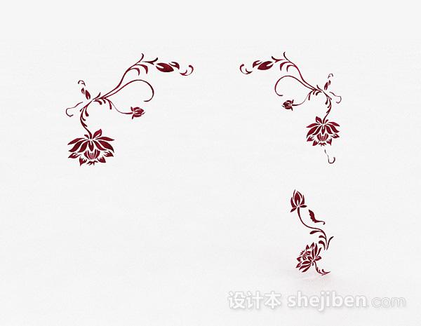 枣红色花卉图案墙纸
