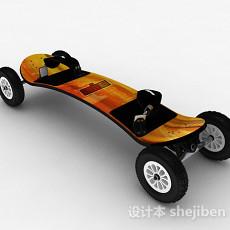 橙色四轮滑板3d模型下载