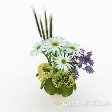白色花卉植物室内插花摆设3d模型下载