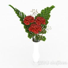 红色玫瑰百合花卉家居摆设品3d模型下载