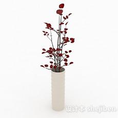 红色树叶植物花卉家居摆设品3d模型下载