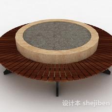 圆形木质院落盆栽3d模型下载