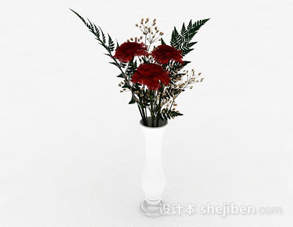红色花朵室内插花摆设