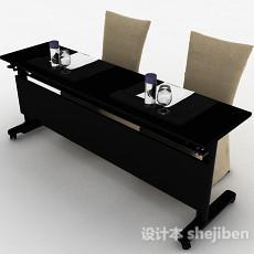 现代风格黑色双人桌椅组合3d模型下载