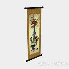 中式风格家居挂画3d模型下载