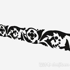 黑色金属质地铁艺铁花3d模型下载