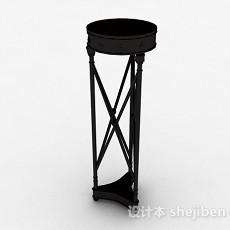 欧式圆形黑色花架3d模型下载