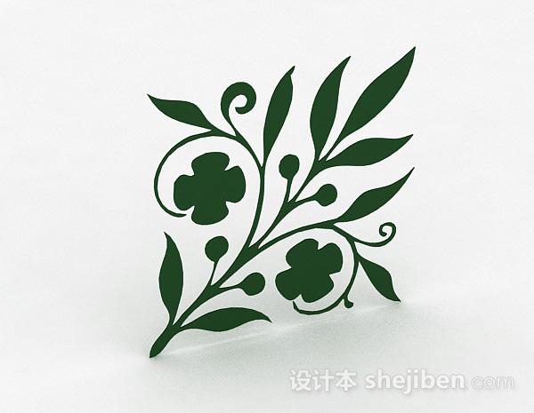 绿色花卉图案墙纸
