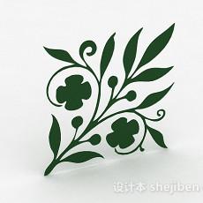 绿色花卉图案墙纸3d模型下载