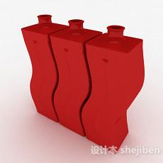 红色弯曲造型水瓶3d模型下载