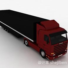 红黑色大卡车3d模型下载