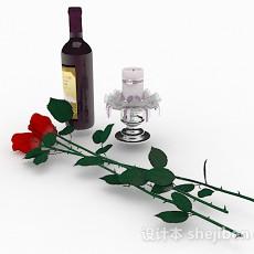 紫色瓶包装红酒3d模型下载