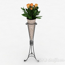 欧式风格橙色花朵花瓶3d模型下载