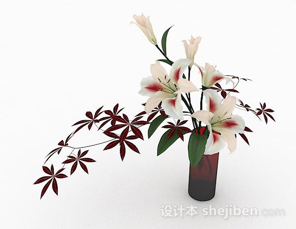 白百合花卉室内插花摆设