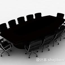 现代风格黑色多人会议桌椅组合3d模型下载