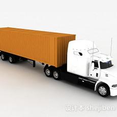 白色集装箱车3d模型下载