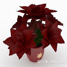 红色陶瓷盆栽3d模型下载