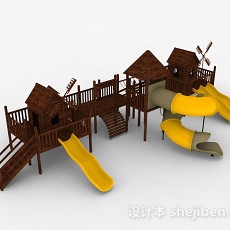 黄色室外公园滑滑梯3d模型下载