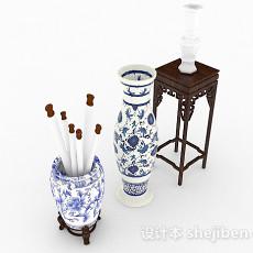 中式大件瓷器瓶3d模型下载