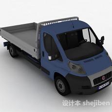 蓝色拉货车3d模型下载