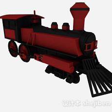 复古红色火车头3d模型下载