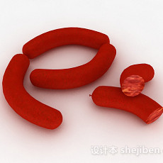 红色火腿肠3d模型下载