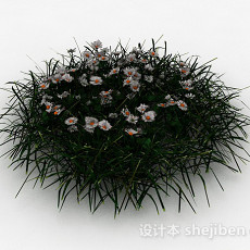 白花绿叶草丛3d模型下载