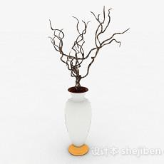 白色广口大肚花瓶3d模型下载