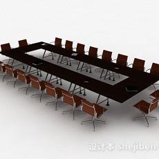 现代风格棕色大型会议桌椅组合3d模型下载