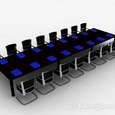 现代风格多人会议桌椅组合3d模型下载