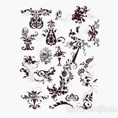 现代风格花卉图案壁纸3d模型下载