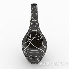 黑色花纹陶瓷摆件3d模型下载